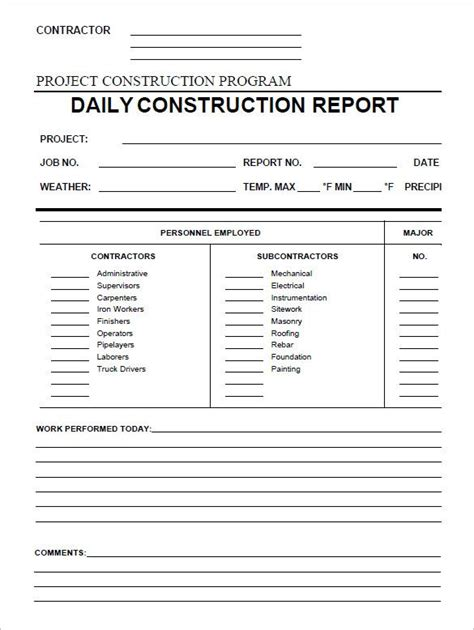 daily construction report template   word  documents  project progress
