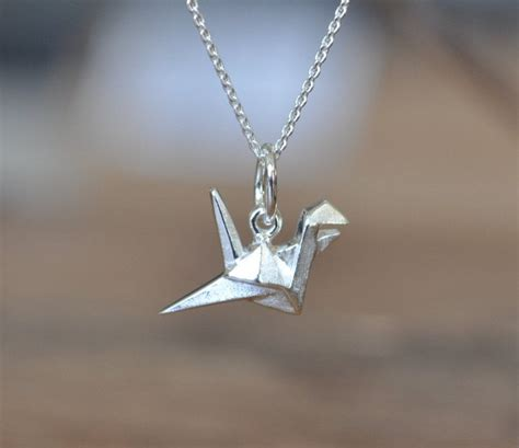 Origami Necklace - sterling silver origami crane necklace silver crane necklace