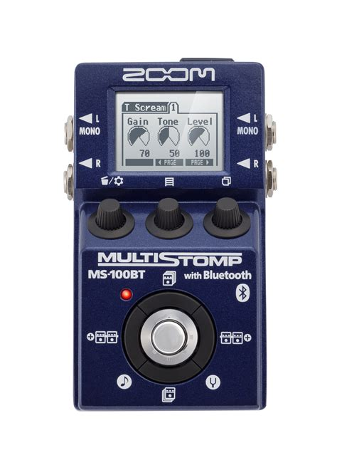 zoom ms 100bt multistomp guitar pedal with bluetooth zoom
