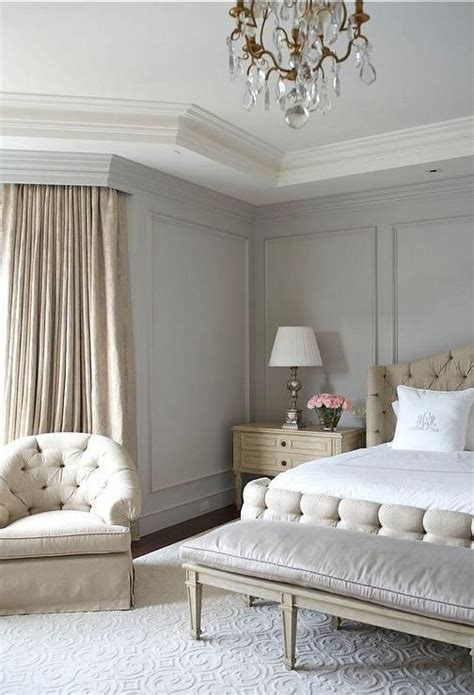 beige and gray bedroom features gray walls painted benjamin wickham gray accented with