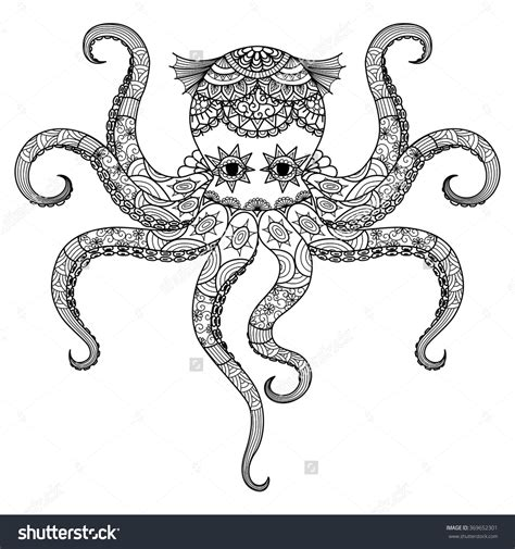 octopus coloring page adults drawing octopus zentangle design for coloring book for
