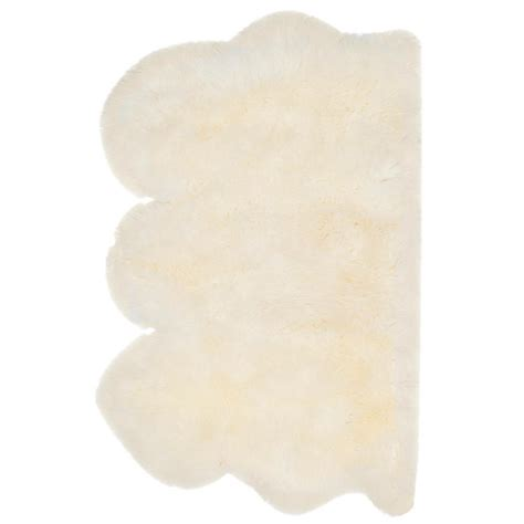 safavieh sheep skin white 3 ft x 5 ft area rug shs121a 3