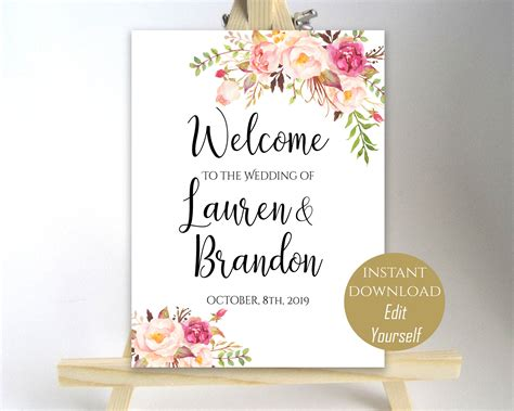printable wedding poster floral welcome to our wedding welcome wedding sign
