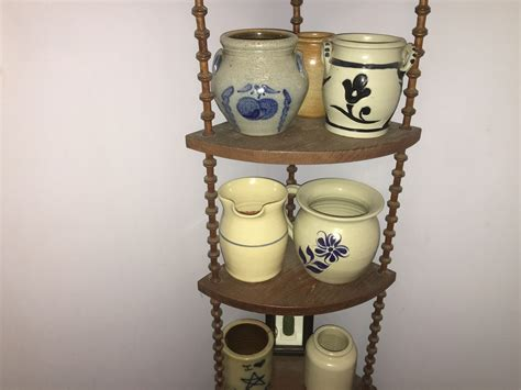 Shelf Pottery by Various Pottery And Wooden Spool Shelf Collectors Weekly