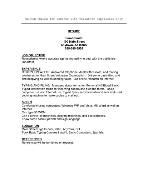 sle resume for highschool students with volunteer experience resume volunteer experience exle resume ideas