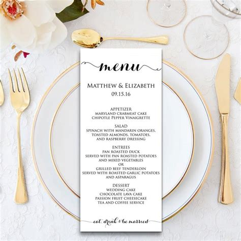 Wedding Dinner Invitation Card Template by Wedding Menu Wedding Menu Template Menu Cards Menu