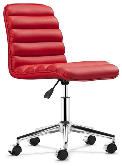 leatherette armless office chair w casters