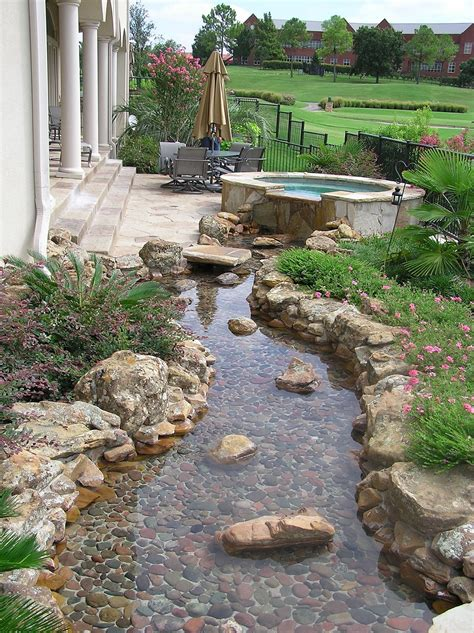 Creek Rock Patio by River Rock Garden Edging Ideas