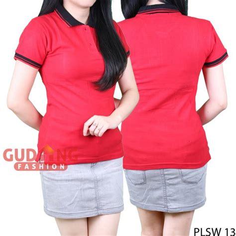 Kaos Polo Wanita Plsw 01 kaos polo shirts wanita cotton pique merah kerah hitam