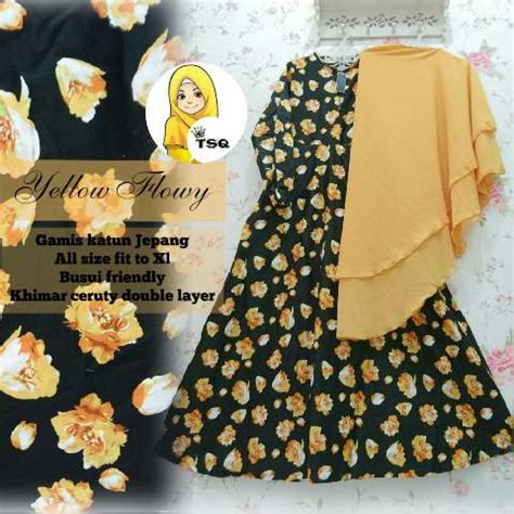 Gamis Baby Flower Kuning gamis cantik a146b katun jepang baju muslim jumbo syari