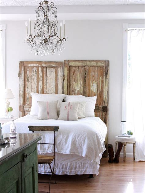 rustic chic bedroom shabby chic bedroom with rustic door headboard and