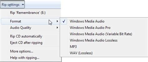 format qualité cd rip an audio cd to mp3 using windows media player