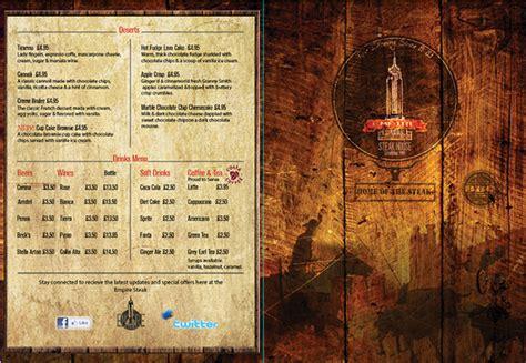 design house menu steak house menu design front back cover on behance