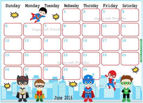 Batman Calendar Happywithprintables June 2016 Calendar Planner