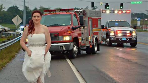 paramedic bride rushes   family  car crash
