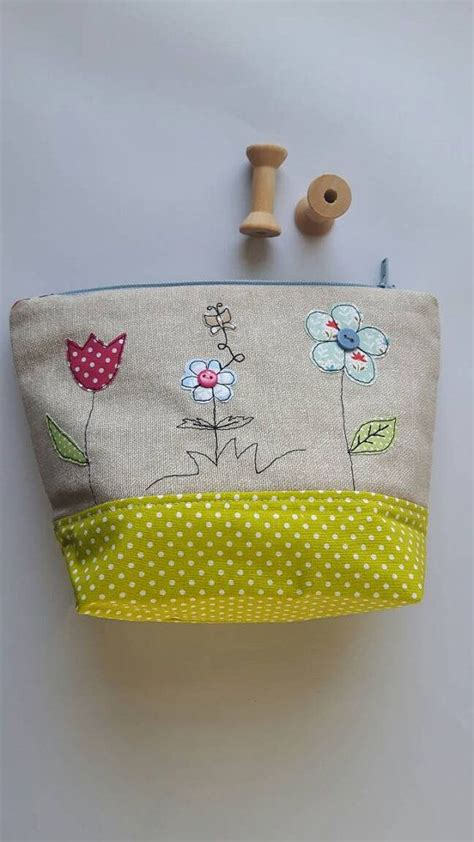Zipped Cosmetic Pouch flower applique zipped pouch cosmetic toiletry bag