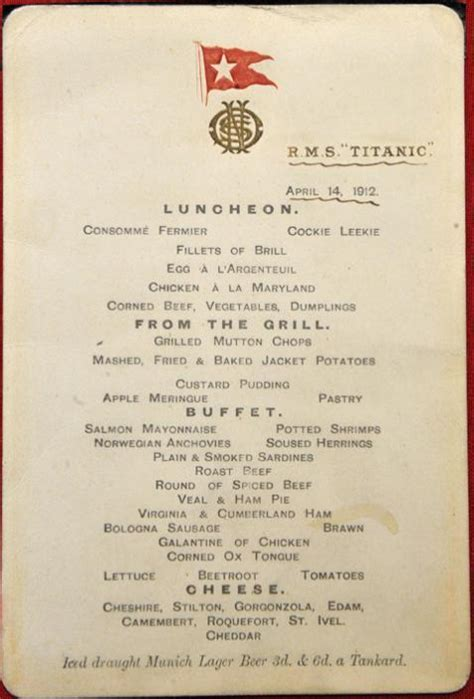 titanic breakfast menu the titanic s menus and what they can tell us historians are past caring