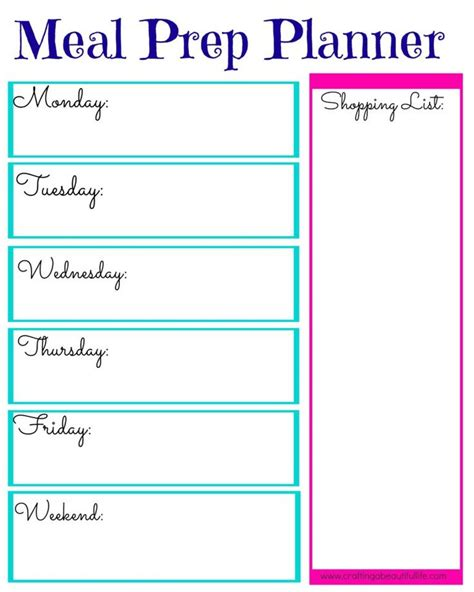 printable meal prep planner 17 best images about meal planners on pinterest weekly
