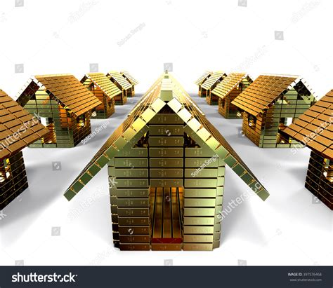 house made of gold 3d render image representing a group of houses made of