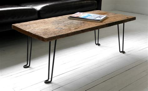diy wood table with metal legs diy coffee table of a wood plank and hairpin metal legs