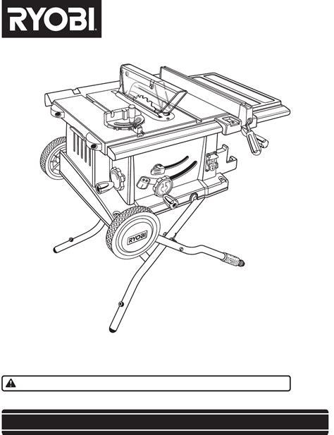 Ryobi Table Saw Manual ryobi saw bts20 user guide manualsonline