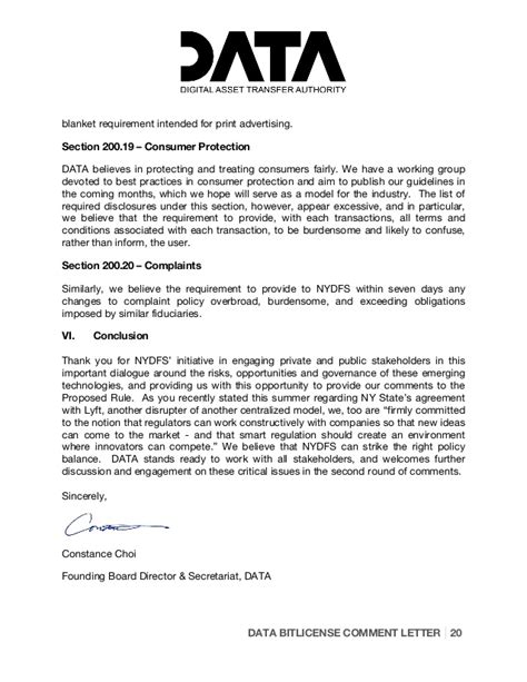Customer Protection Letter Digital Asset Transfer Authority Bit License Comment
