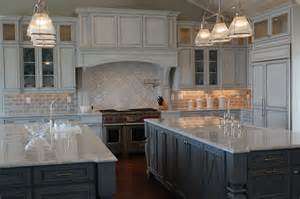 Kitchen Backsplash Ideas With Cream Cabinets double kitchen islands transitional kitchen