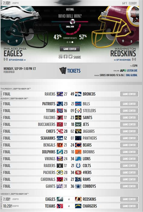 printable nfl schedule espn nfl players rosters national football league espn