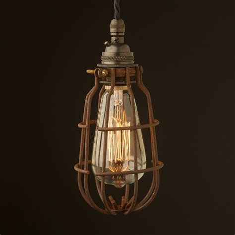 Caged Pendant Light Bronze Socket Enclosed Cage Pendant