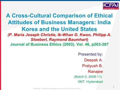 Comparison Of Mba Programs In India by A Cross Cultural Comparison Of Ethical Attitudes Of