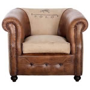 fauteuil cuir et coton polo univers du salon