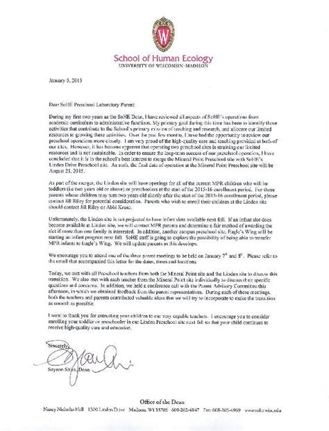 Closing Daycare Letter To Parents dean s letter on preschool closing merger host