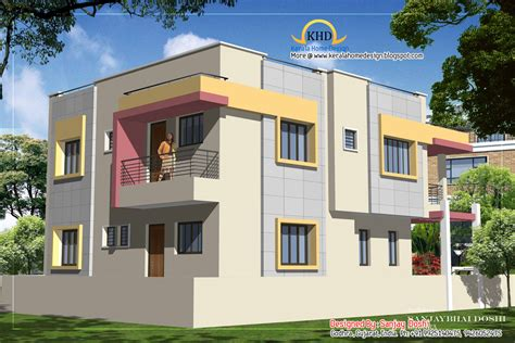 front elevation of duplex house studio design