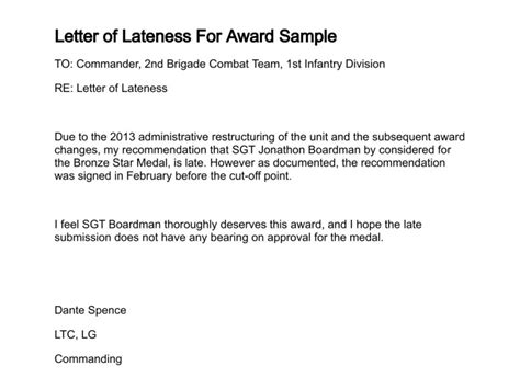 Award Letter Of Lateness Letter Of Lateness