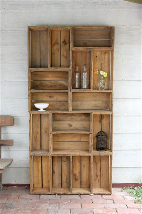 antique shelving ideas dishfunctional designs vintage wood crates upcycled