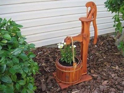 amish wooden garden planter water hand pump flower pot