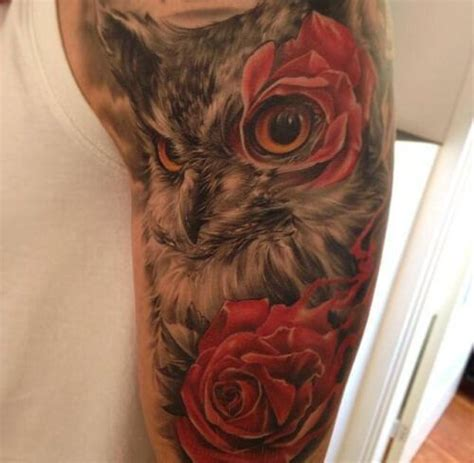stunning owl and roses tattoo beautiful tattoos