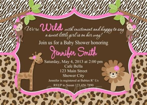Pink Leopard Baby Shower Theme by Pink Leopard Baby Shower Baby Shower Invitations