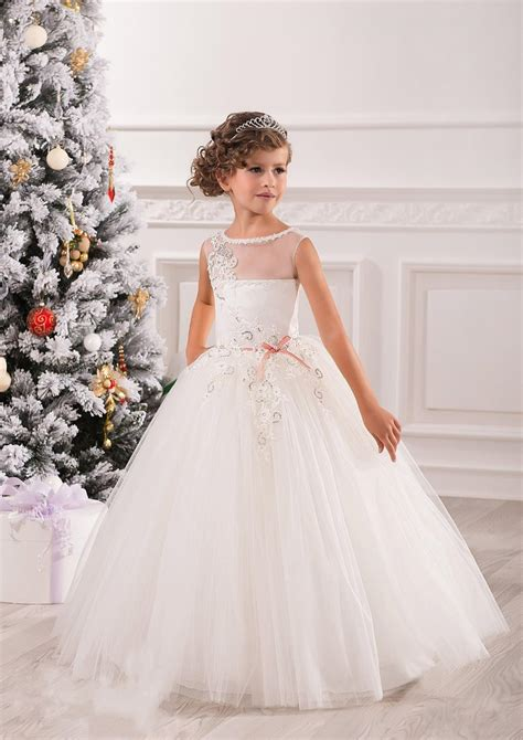 elegant white lace ball gowns tulle flower girl dresses