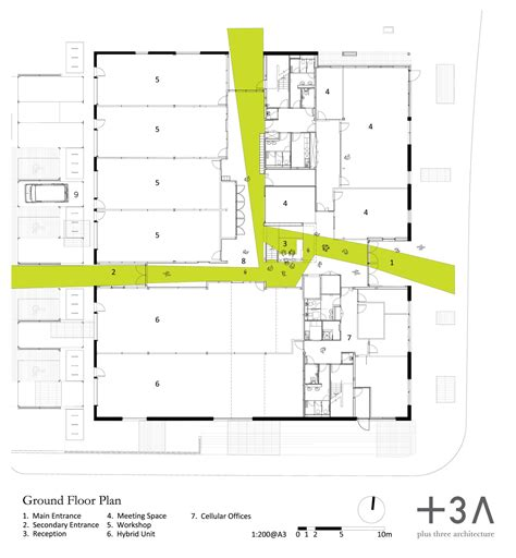 architecture photography entrance floor plan 132460 gallery of green incubator plus three architecture 12