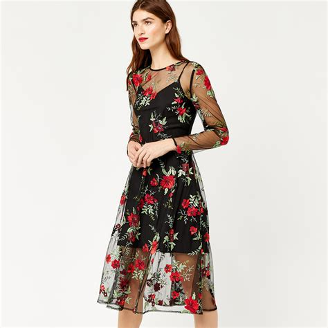 Embroidered Dress floral embroidered midi dress warehouse