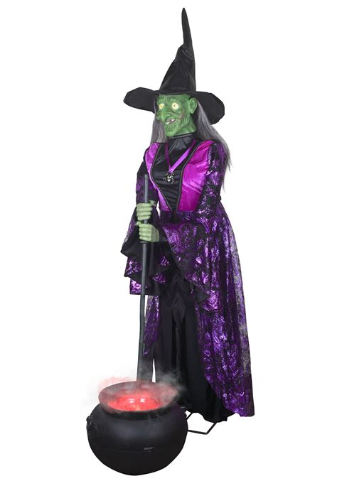 lifesize animated witch with misting cauldron