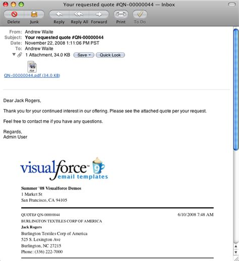 Visualforce Emailquote2pdf Developer Force Com Email Template For Sending Quotation To Client