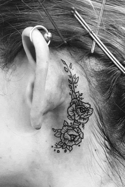 rose tattoos behind ear top 25 ideas about vine tattoos on vine