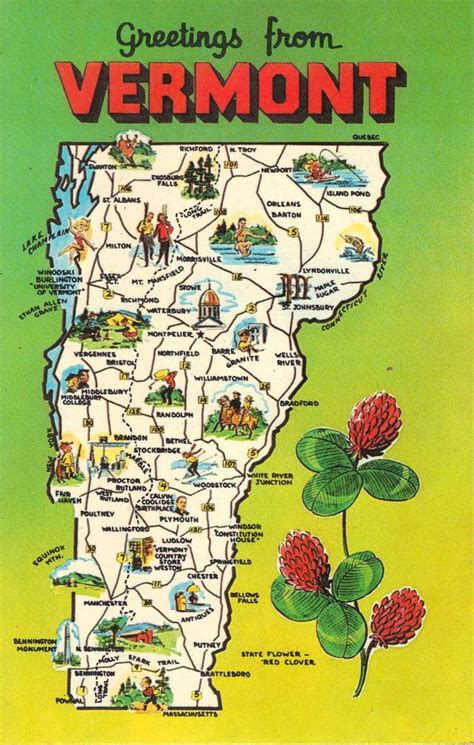 vermont united states map vermont state map vintage postcard greetings vintage