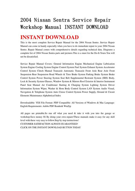 auto repair manual free download 2004 nissan sentra spare parts catalogs 2004 nissan sentra service repair workshop manual instant download by servicemanual20154 issuu