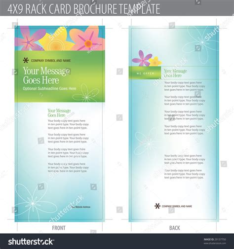 rack card template for openoffice 4x9 rack card brochure template includes stock vector
