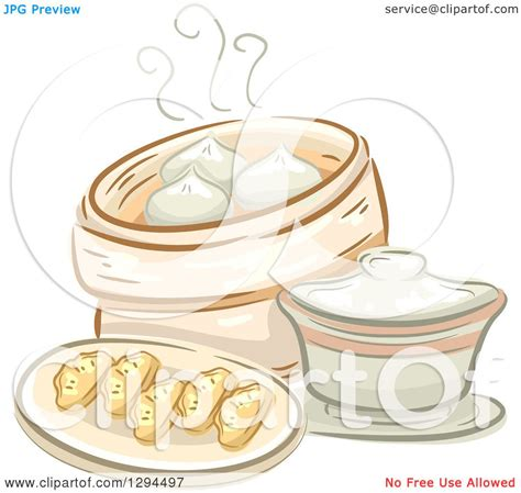 design gerobak dimsum clipart of a sketched plate of dimsum and a container of
