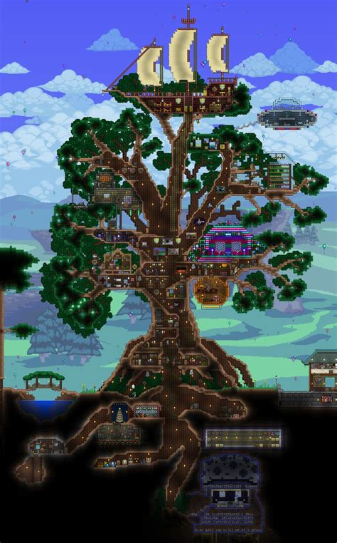 terraria tree house are you kidding me this is amazing goals giant living treehouse take2 terraria