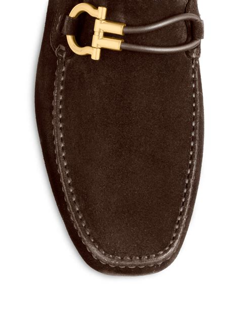 ferragamo brown suede loafer ferragamo suede driving loafers in brown for lyst